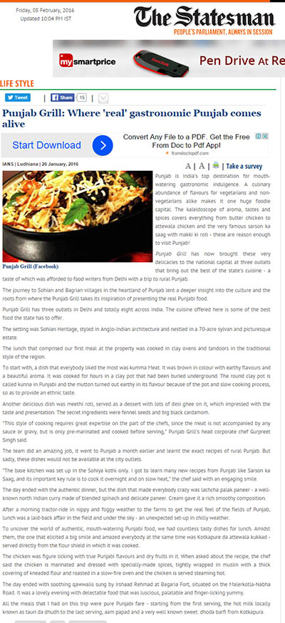 Press punjab grill where real gastronomic punjab come alive the statesman january 2016 forumfinder Gallery